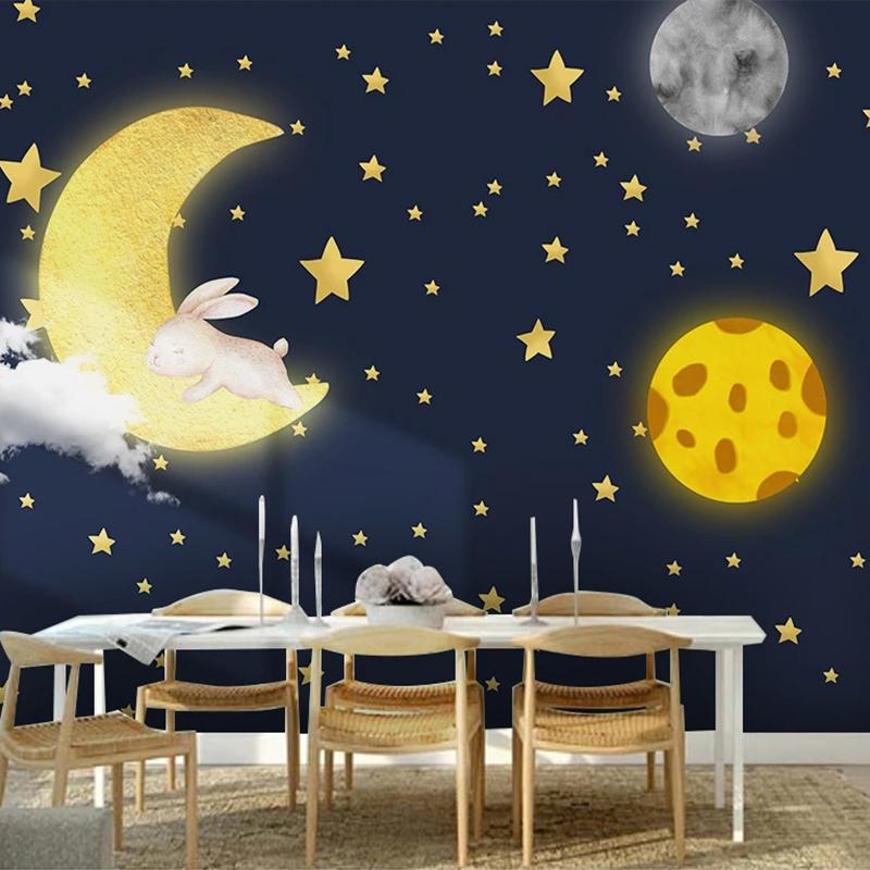 Removable & reusable custom 3d Photo Cartoon Moon, Stars, Kids Wall Mural